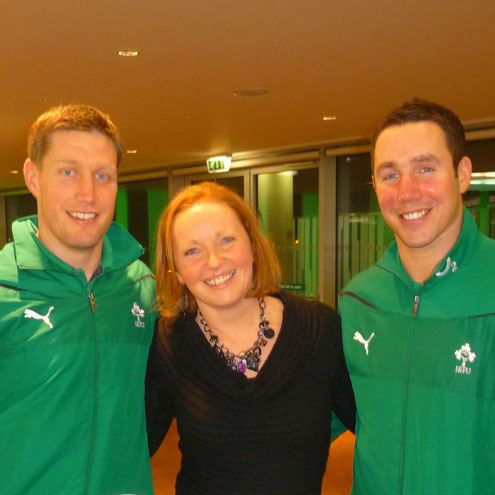 Cecily Donnelly with Ronan O'Gara and Paddy Wallace