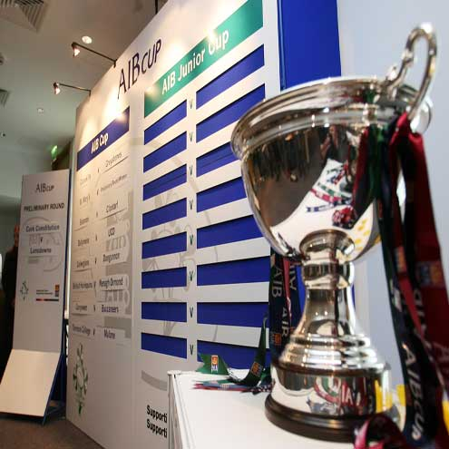 A view of the AIB Cup trophy at the first round draw