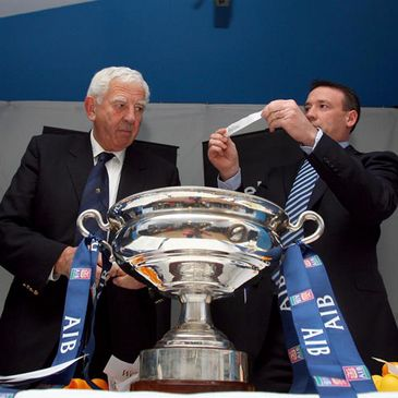 IRFU President John Lyons and AIB's Carl Morgan conduct the Junior Cup draw