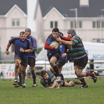 Westport try scorer Kevin Corcoran on the charge