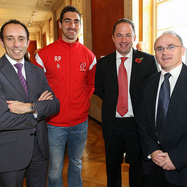Ruan Pienaar and David Humphreys are pictured with two members of the APG