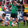 Connacht out-half Ian Keatley reacts after Adam D'Arcy crossed for a breakaway try for Ulster