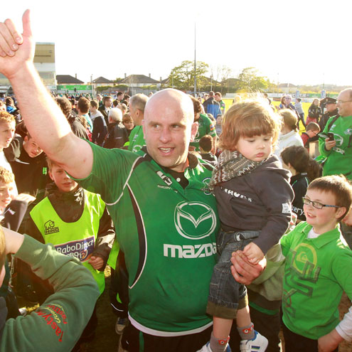 Adrian Flavin salutes the Sportsground crowd