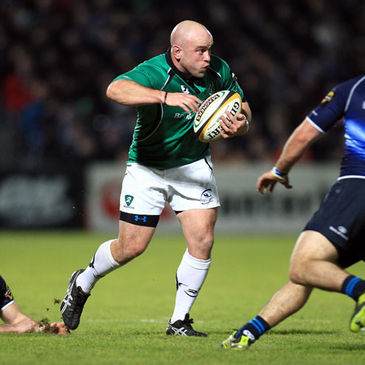 Connacht hooker Adrian Flavin on the charge