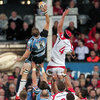 Ulster's South African captain Johann Muller challenges Glasgow's Al Kellock for a lineout ball