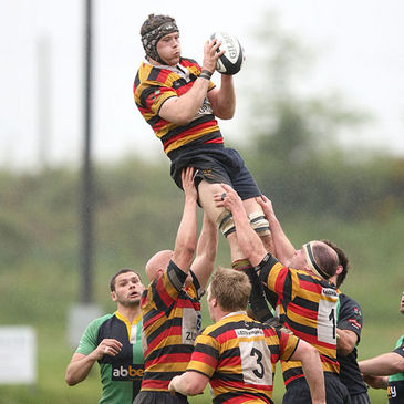 Alan Maher secures lineout possession for Lansdowne
