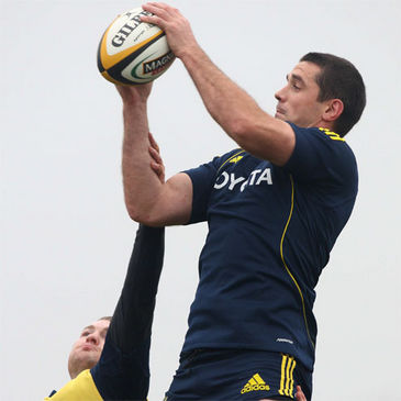 Alan Quinlan takes a lineout ball in training