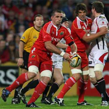 Alan Quinlan in action against Ulster earlier in the season
