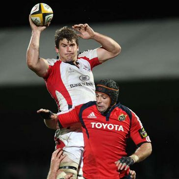 Robbie Diack wins lineout ball for Ulster