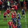 Flanker Alan Quinlan, back starting after a lengthy injury, does well to win a lineout for Munster