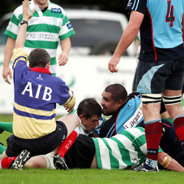 Action from the Belfast Harlequins v Naas clash