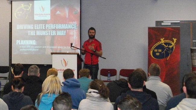 Munster's Aled Walters addressing the delegates