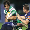 Benetton Treviso flanker Alessandro Zanni keeps a tight hold of the ball as he is challenged by Shane Jennings and Brian O'Driscoll