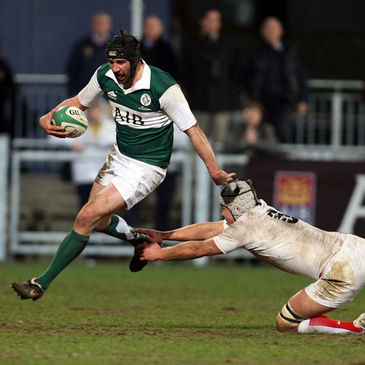 Alex Dunlop in action for the Ireland AIB Club International side