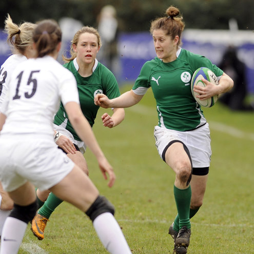 Ireland's Alison Miller in action against England