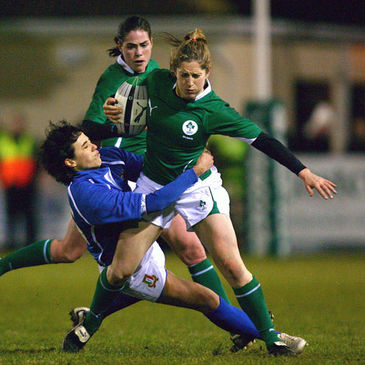 Debutant winger Alison Miller in possession for Ireland