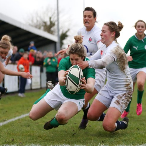 Alison Miller in action against England