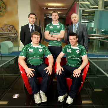 Allen Clarke and some of the players with PwC senior partner Ronan Murphy