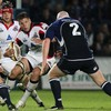 Leinster hooker Bernard Jackman sets himself up to tackle Edinburgh's Allister Hogg