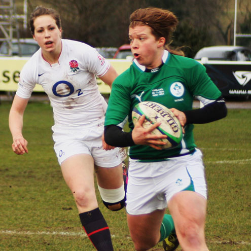 Amy Davis on the attack for Ireland