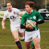 Ireland winger Amy Davis breaks into space during the first half of the super-charged clash at Esher RFC
