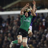 Connacht's Andrew Browne competes for a high ball with Samoa lock Chad Slade