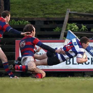 Blackrock winger Andrew Conway gets over for a try