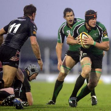Andrew Farley on the attack for Connacht against the Ospreys