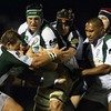 Connacht lock Andrew Farley wrestles for possession with London Irish captain Bob Casey during the Sportsground duel