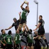 Andrew Farley, Connacht's former captain, rises highest to claim a lineout ball