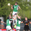 Connacht's Ireland 'A'-capped lock Andrew Farley taps down a lineout ball to scrum half Frank Murphy