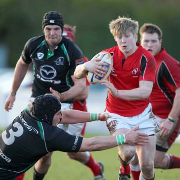 Andrew Semple in possession for the Ulster Ravens