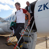 Pictured disembarking from the plane are Andrew Trimble, one of Ireland's try scorers against Russia, and the IRFU's head of performance analysis Mervyn Murphy