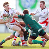 Aironi front rowers Matias Aguero and Fabio Ongaro are pictured tackling Ulster winger Andrew Trimble