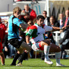 Andrew Trimble fends off Biarritz hooker Benoit August as he spearheads an attack for Ulster