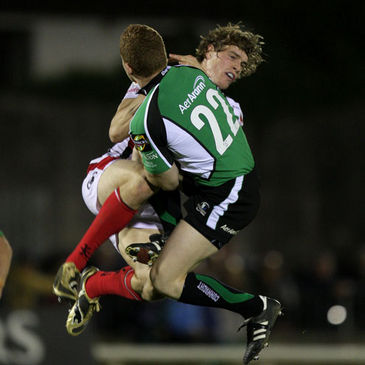 Andrew Trimble and Liam Bibo collide in mid air