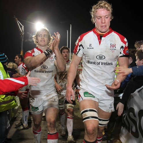 Andrew Trimble and Mike McComish salute the Ulster crowd