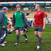 Ulster duo Andrew Trimble and Rory Best make their way out onto the pitch at Stadium Taranaki, which will be alive with colour and noise come kick-off on Sunday