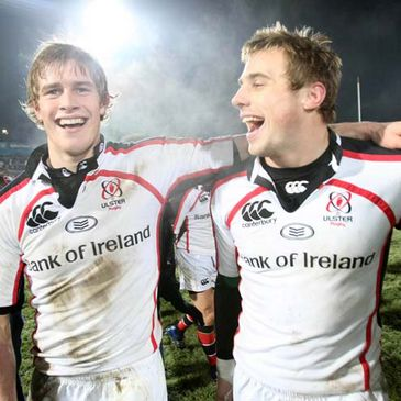 Andrew Trimble and Tommy Bowe celebrating Ulster's win over Bourgoin