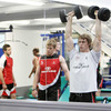Andrew Trimble, used as a first half replacement against Connacht, works out with the weights in Jordanstown