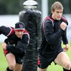 Ireland's Andrew Trimble, back after a leg injury, takes part in a drill at the province's Belfast training base