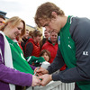 Andrew Trimble and the rest of the Ireland squad spent time after the session signing autographs and posing for photographs