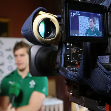 Andrew Trimble takes part in a TV interview