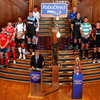 The team captains stand together as PRO12 Chairman Andy Irvine addresses the audience at the launch of the new league campaign