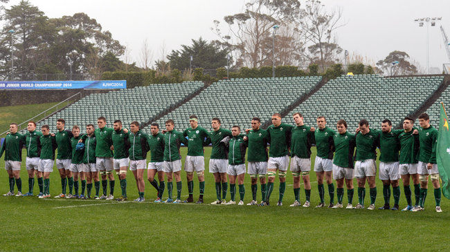 The Ireland U-20 players line up for the anthem