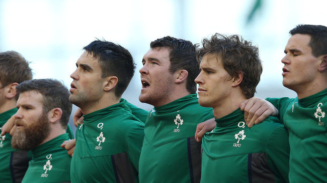 The Ireland players during anthem time
