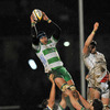 Benetton Treviso lock Antonio Pavanello secures lineout possesion for his side in difficult handling conditions