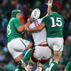 Replacement Denis Leamy and Rob Kearney, who also crossed for a second half try, are pictured competing for a high ball with Russia's Artem Fatakhov