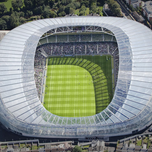 An aerial view of the Aviva Stadium