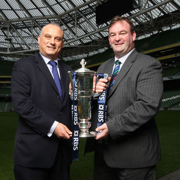 Philip Bernie of the BBC with RBS 6 Nations Chief Executive John Feehan